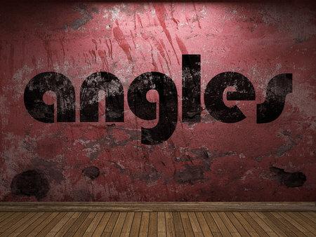 angles: angles word on red wall Stock Photo