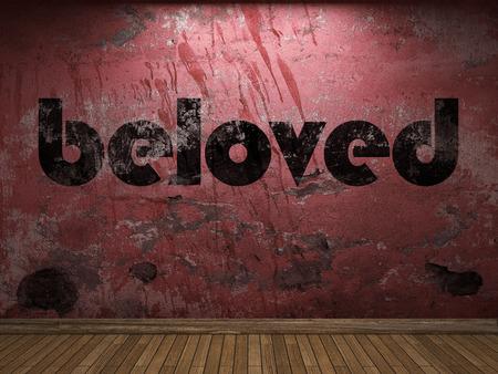beloved: beloved word on red wall