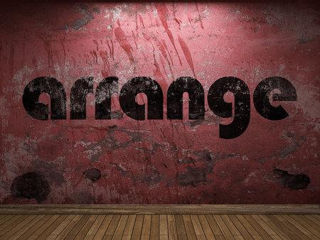 to arrange: arrange word on red wall