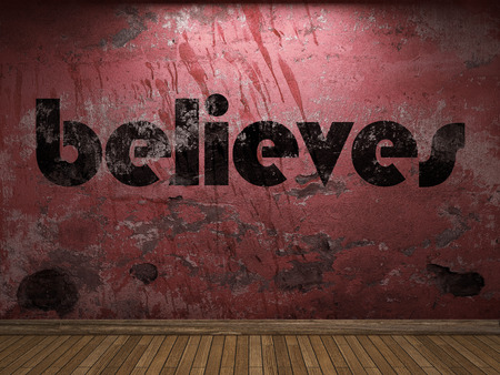 believes: believes word on red wall