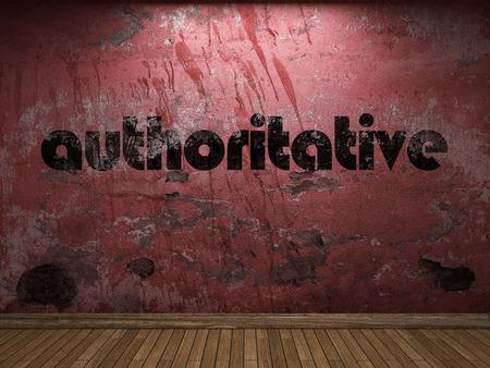 authoritative: authoritative word on red wall Stock Photo