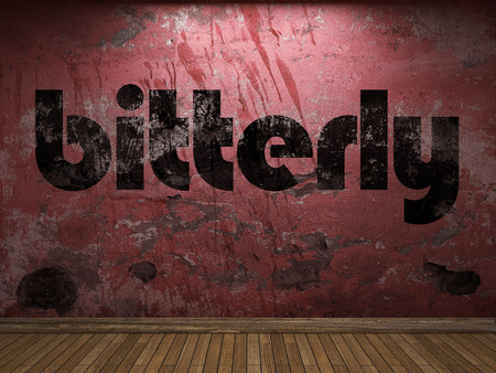 bitterly word on red wall