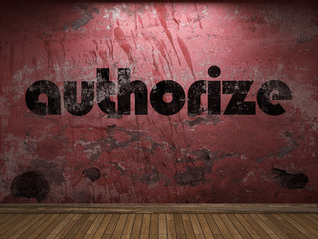 authorize: authorize word on red wall Stock Photo