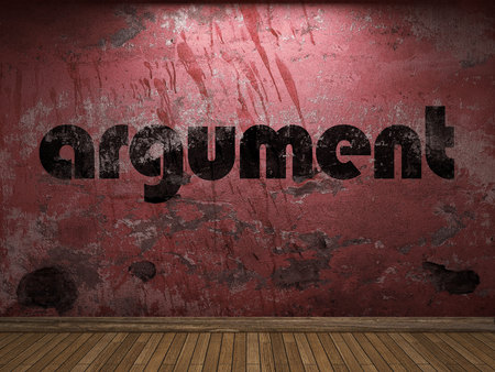 argument: argument word on red wall Stock Photo