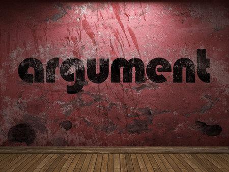 argumento: palabra argumento en la pared roja