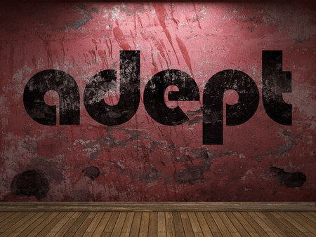 adept word on red wall Imagens