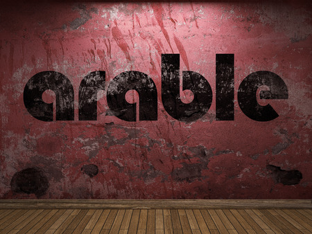 arable: arable word on red wall