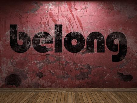 belong: belong word on red wall Stock Photo