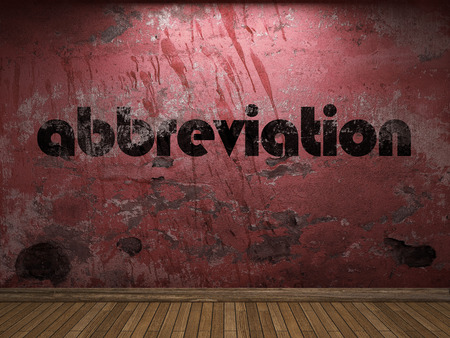 abbreviation word on red wall