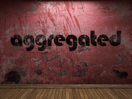 aggregated word on red wall