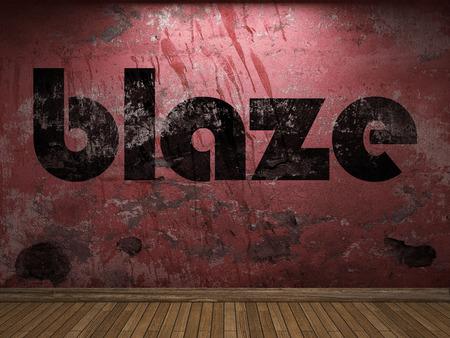 resplandor: palabra incendio en la pared roja