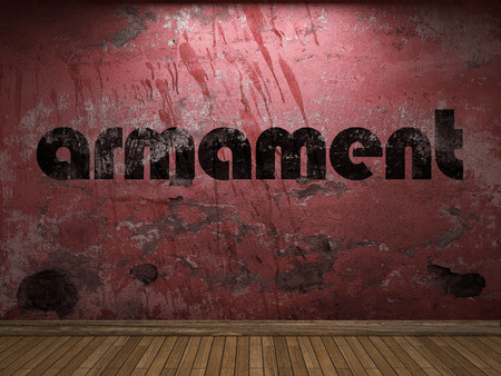 armament: armament word on red wall Stock Photo