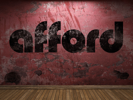 afford: afford word on red wall Stock Photo
