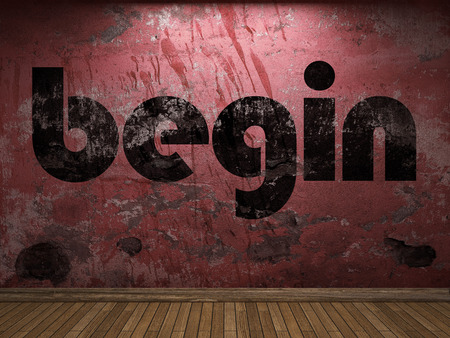 comenzar: begin word on red wall
