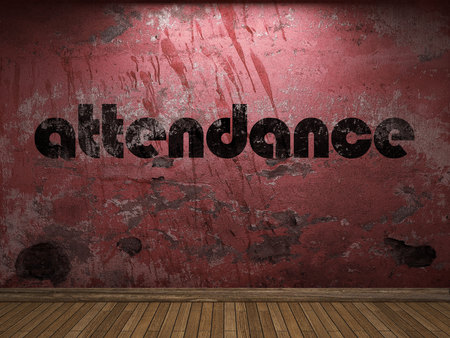 attendance word on red wall