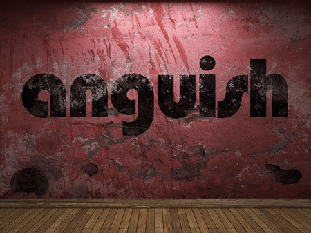 anguish: anguish word on red wall