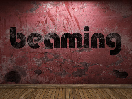 beaming: beaming word on red wall