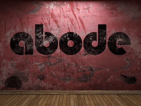 abode: abode word on red wall