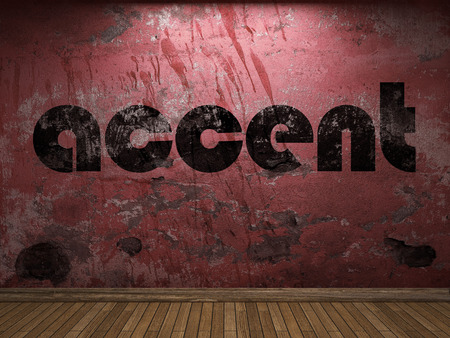 accent: accent word on red wall Stock Photo