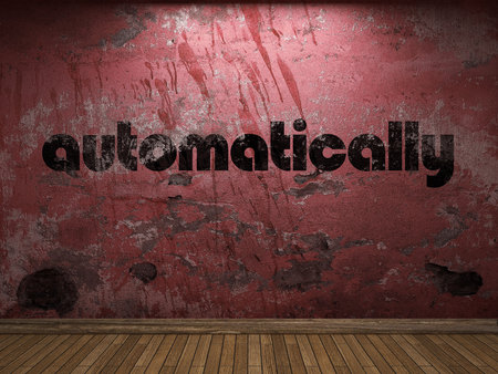 automatically: automatically word on red wall Stock Photo