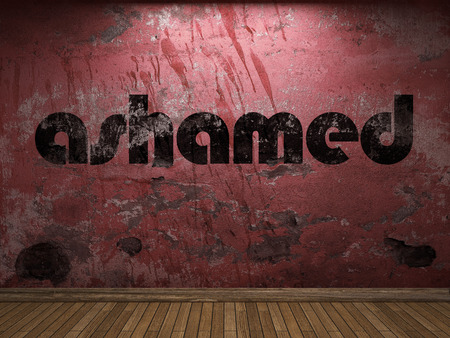 ashamed: ashamed word on red wall