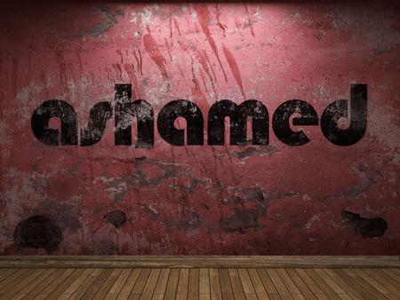 ashamed: palabra verg�enza en la pared roja
