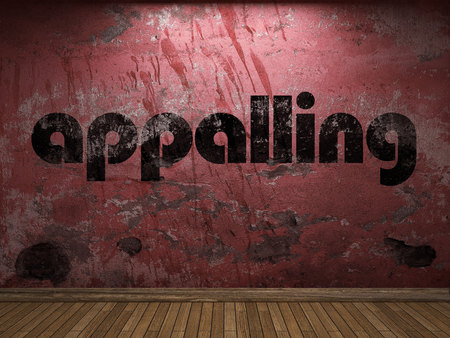 appalling: appalling word on red wall Stock Photo