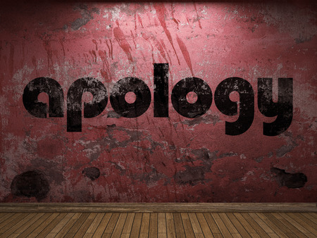 apology: apology word on red wall