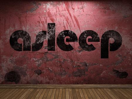 sleeping tablets: asleep word on red wall Stock Photo