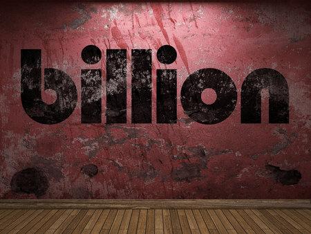billion: billion word on red wall