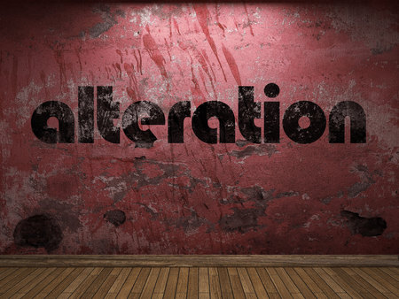 alteration: alteration word on red wall Stock Photo