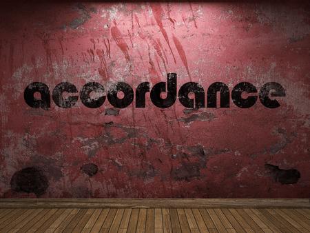 accordance: accordance word on red wall