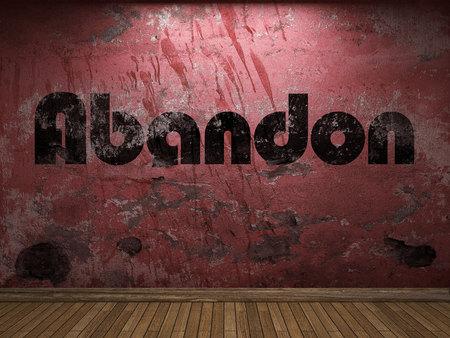 abandon: Abandon word on red wall Stock Photo