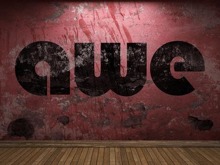 awe: awe word on red wall