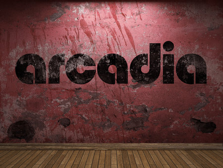 and arcadia: arcadia word on red wall