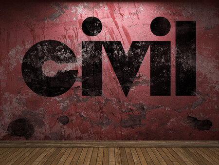 civil: civil word on red wall