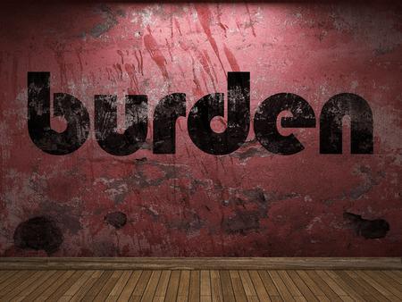 burden: burden word on red wall Stock Photo