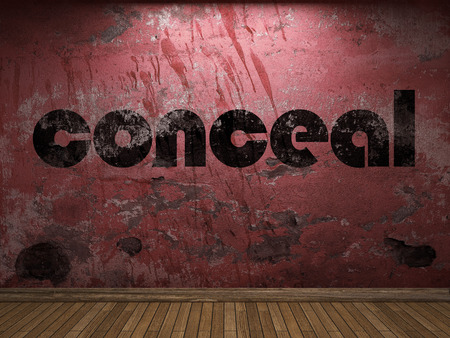 conceal: conceal word on red wall