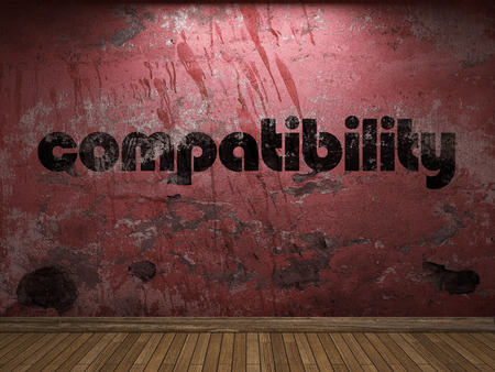 compatibility: compatibility word on red wall