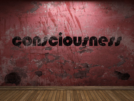 consciousness: consciousness word on red wall