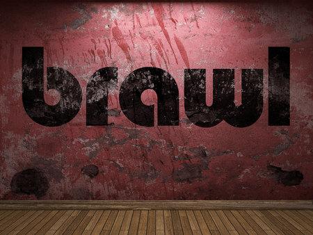 brawl: brawl word on red wall