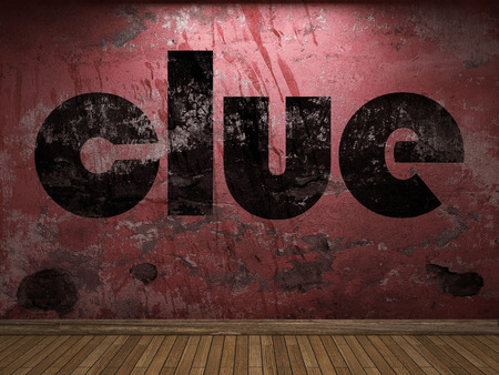 clue: clue word on red wall