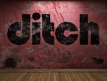 ditch: ditch word on red wall Stock Photo