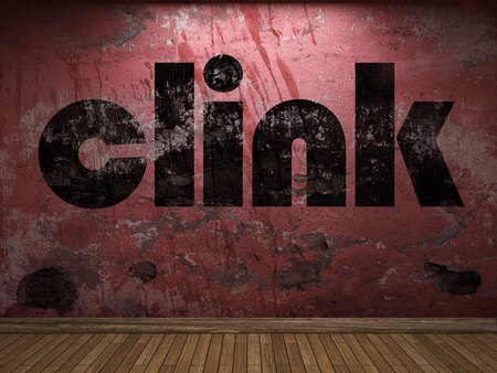 clink: clink word on red wall