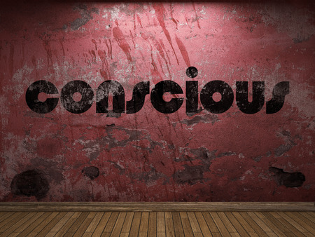 conscious: conscious word on red wall Stock Photo
