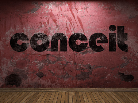 conceit: conceit word on red wall Stock Photo