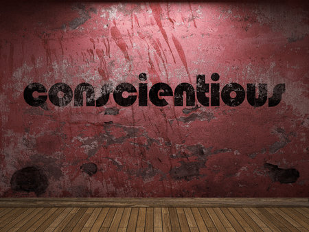 conscientious: conscientious word on red wall