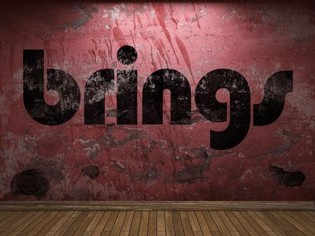 brings: brings word on red wall