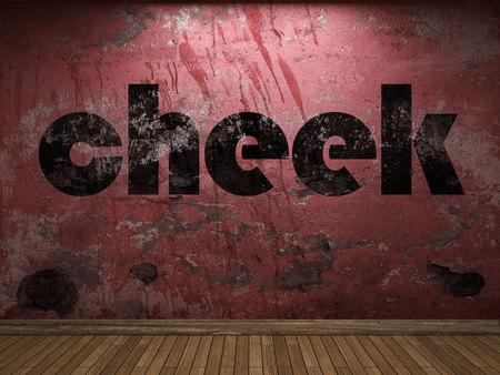 cheek: cheek word on red wall Stock Photo