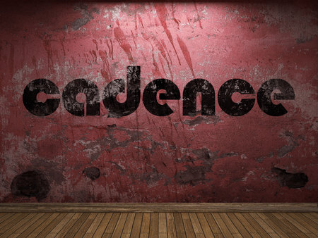 cadence: cadence word on red wall Stock Photo